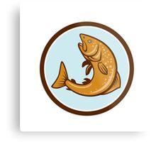 Brown Trout Jumping Circle Cartoon Metal Print