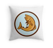 Brown Trout Jumping Circle Cartoon Throw Pillow