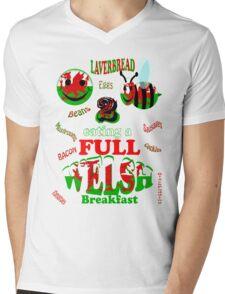 happy 2 bee eating a full welsh Mens V-Neck T-Shirt