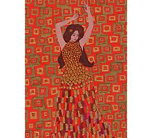 Red and gold bellydancer by Ruth Magnus