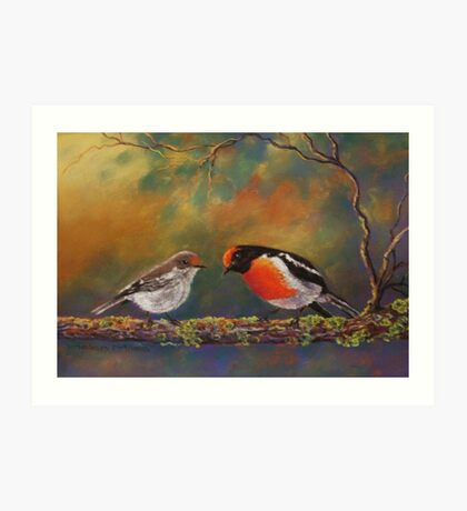 'Red Capped Robins' Art Print