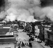 San Francisco Mission District burning in the aftermath of the San Francisco Earthquake of 1906. by Adam Asar