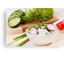 cottage cheese with radish Canvas Print