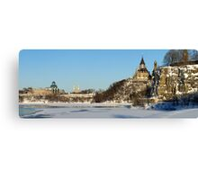 Winter's View of Parliament from the Ottawa River Canvas Print