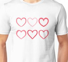 Watercolor hearts Unisex T-Shirt