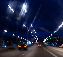 Cars motion street night lights by Arletta Cwalina