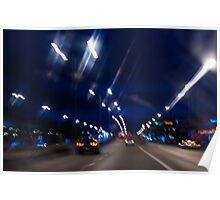 Cars motion street night lights Poster