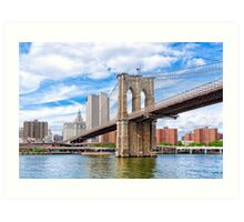 Historic Brooklyn Bridge And The New York City Skyline Art Print