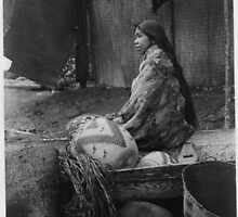 Skokomish Indian Chief's Daughter with baskets by Edward Sheriff Curtis. by Adam Asar