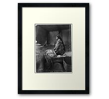 Skokomish Indian Chief's Daughter with baskets by Edward Sheriff Curtis. Framed Print