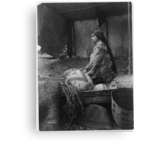 Skokomish Indian Chief's Daughter with baskets by Edward Sheriff Curtis. Canvas Print