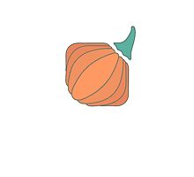 Orange pumpkin with tail in flat style by AndrewBzh