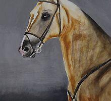 Sengar Akhal-Teke stallion watercolour by Michèle  van Kasteren