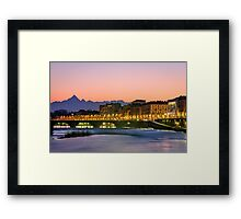 Turin (Torino), river Po and Monviso at sunset Framed Print