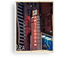 Amsterdam Theater in Times Square at night - Kodachrome Postcards Canvas Print