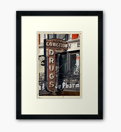 Drugstore in the West Village - Kodachrome Postcards Framed Print
