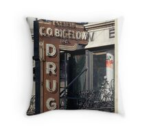 Drugstore in the West Village - Kodachrome Postcards Throw Pillow