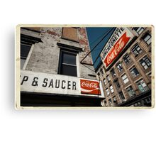 Luncheonette in the Lower East Side - Kodachrome Postcard Canvas Print
