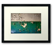 Wall with Peeling Green Blue and White Paint   Framed Print