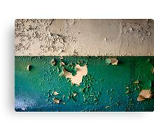 Wall with Peeling Green Blue and White Paint   Canvas Print