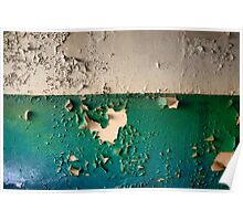 Wall with Peeling Green Blue and White Paint   Poster