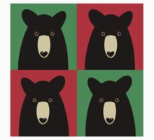 BLACK BEAR ON RED & GREEN One Piece - Long Sleeve