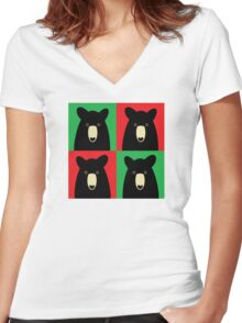 BLACK BEAR ON RED & GREEN Women's Fitted V-Neck T-Shirt