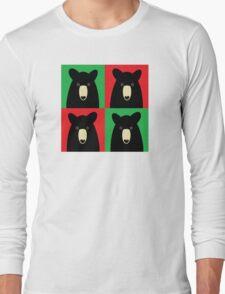 BLACK BEAR ON RED & GREEN Long Sleeve T-Shirt