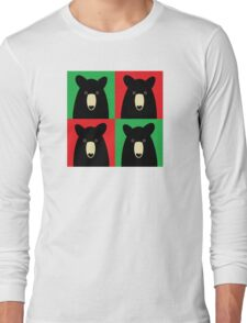 BLACK BEAR ON RED & GREEN Long Sleeve T-Shirt