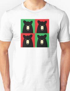BLACK BEAR ON RED & GREEN T-Shirt