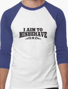 I Aim To Misbehave (Black) Men's Baseball ¾ T-Shirt
