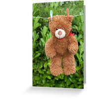 toy brown teddy bear hanging on line Greeting Card