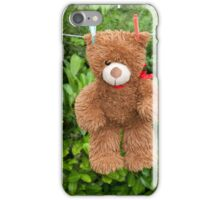 toy brown teddy bear hanging on line iPhone Case/Skin