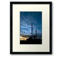 transmission tower on Knockanore hill at dusk Framed Print