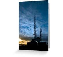 transmission tower on Knockanore hill at dusk Greeting Card