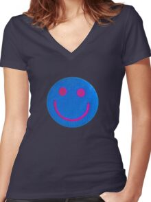 Blue Smiley Women's Fitted V-Neck T-Shirt