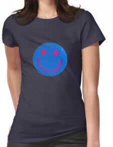 Blue Smiley Womens Fitted T-Shirt