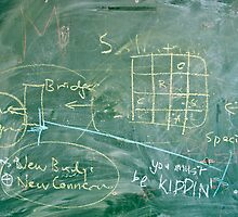 Writing on messy blackboard by Reinvention