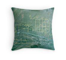 Writing on messy blackboard Throw Pillow