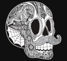 Mustache Sugar Skull (Black & White) by Tammy Wetzel