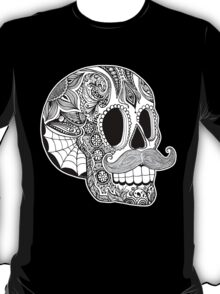 Mustache Sugar Skull (Black & White) T-Shirt