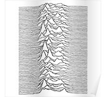 Pulsar waves - white&black Poster