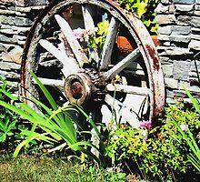 Wagon Wheel Planter by Al Bourassa