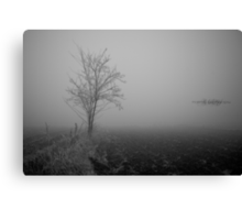 Fog with tree in a gray field Canvas Print