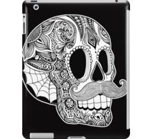 Mustache Sugar Skull (Black & White) iPad Case/Skin