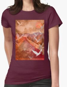 Gulls Overflying Downland Womens Fitted T-Shirt