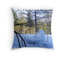 Frozen Fence-cicles Throw Pillow