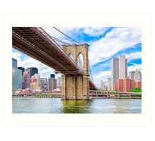 Brooklyn Bridge & The Manhattan Skyline Art Print