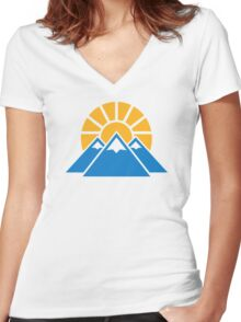 Mountains sun Women's Fitted V-Neck T-Shirt