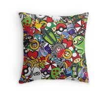 Video Game Mash-Up Throw Pillow